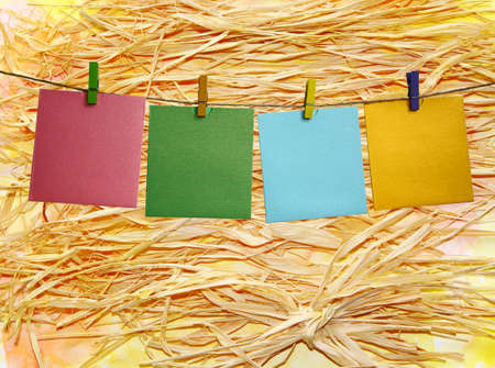 colorful straw: Colorful paper frame with clothespins on a straw background