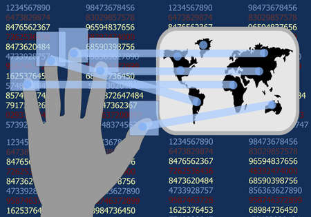 transducer: Hand touch screen shows the development of businesses around the world