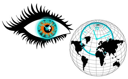 The human eye, clock and globe, look over time, the concept of