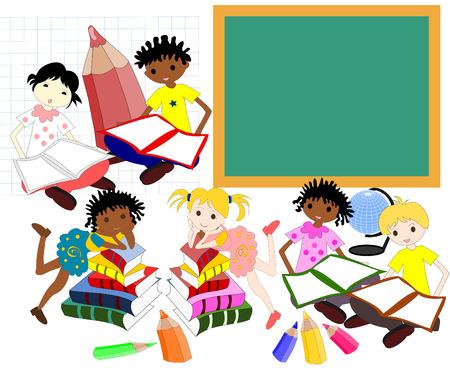 ni�os de diferentes razas: Los ni�os de diferentes razas en los libros de la junta escolar, regreso a la escuela