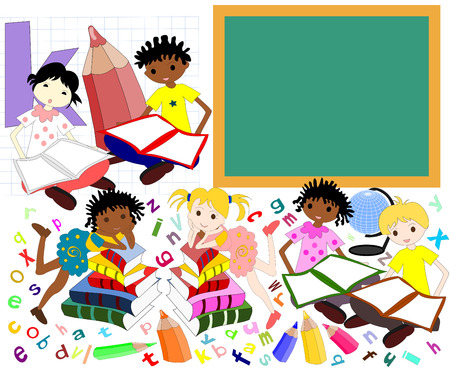 niños de diferentes razas: Los niños de diferentes razas en los libros de la junta escolar, regreso a la escuela