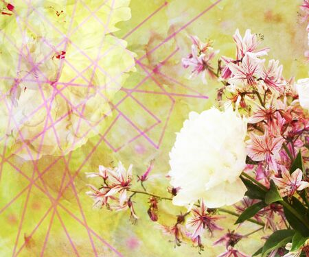 scenic background: Abstract watercolor illustration of a bouquet of wild orchids and peonies, flower scenic background