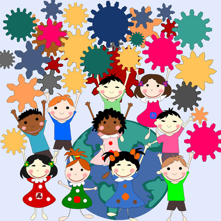 ni�os de diferentes razas: Mentes infantiles -futuros en el mundo, el concepto de ni�os de diferentes razas con engranajes en las manos