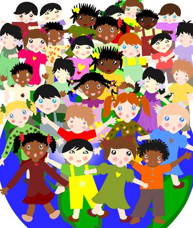 ni�os de diferentes razas: Felices los ni�os de diferentes razas en el mundo, el concepto del mundo para los ni�os