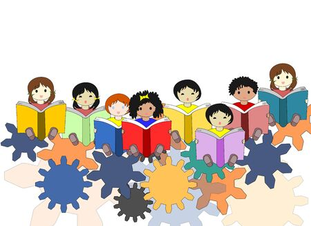 niños de diferentes razas: Mentes infantiles -buduschie en el mundo, el concepto de niños de diferentes razas sentados en los engranajes con libros en las manos Foto de archivo