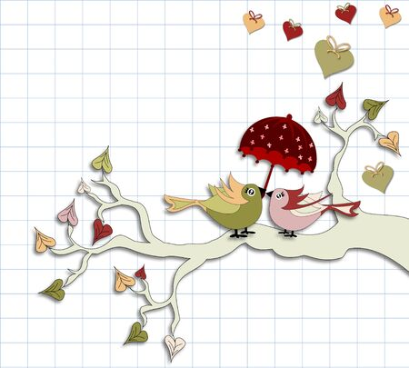 Love Birds with umbrella sitting on a branch on a background of notebook sheet