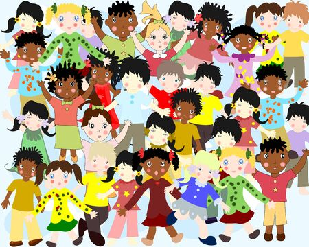 nationalities: Group of happy children of different nationalities in colorful clothes in a funny cartoon style Stock Photo