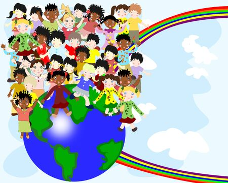 nationalities: Group of happy children of different nationalities in the world against the sky and rainbow Stock Photo