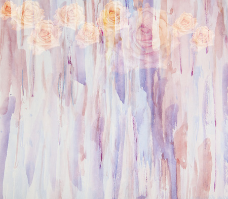 floral grunge: Abstract watercolor painting in combination with flowers roses -floral grunge