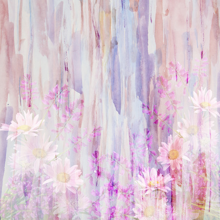 An abstract watercolor painting combined with wild flowers -floral grunge