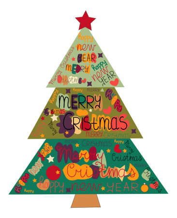 Illustration Christmas tree made with the words and the words Happy New Year and Merry Christmas