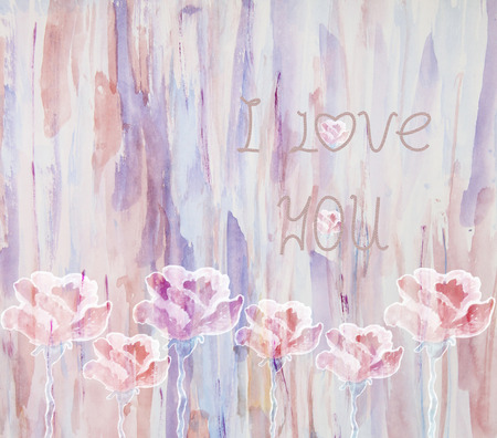 purple roses: Watercolor illustration of stylized purple roses and inscription-I love you