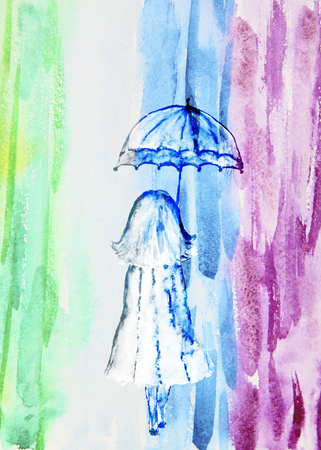 rainbow umbrella: Watercolor illustration of a girl with an umbrella, abstract rainbow bright background