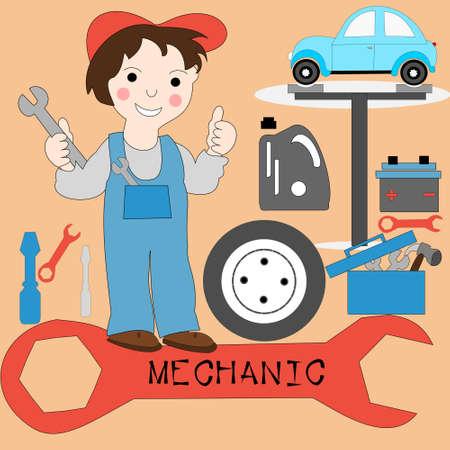 hoist: The concept of the profession mechanics. Man with big key icons hoist cars, wheels, tools, battery. Stock Photo