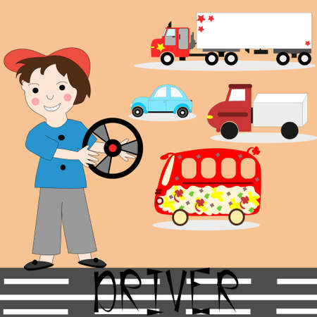The concept of the profession. The man with the wheel, icons, car, truck, bus.