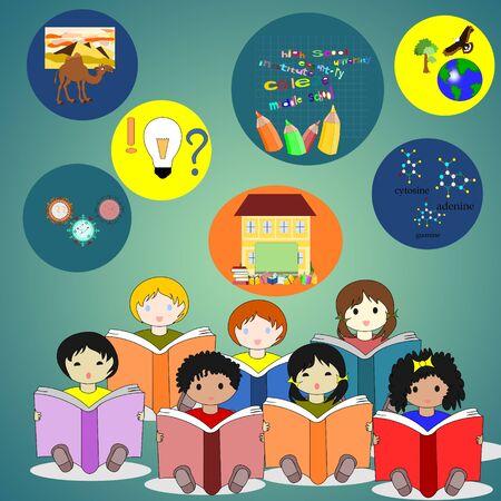 niños de diferentes razas: Los niños de diferentes razas que se sienta con los libros en sus manos, alrededor de los iconos de las distintas materias. Foto de archivo