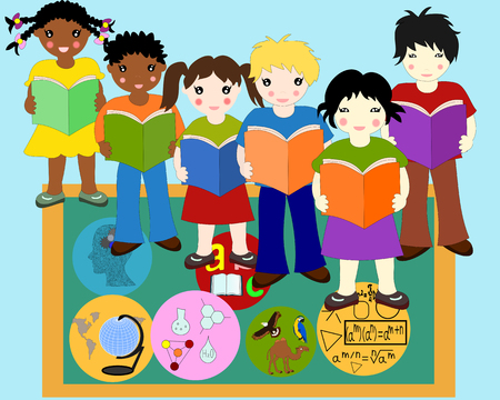 Children of different races with books in hands near a school board, school subjects badges Stock Photo