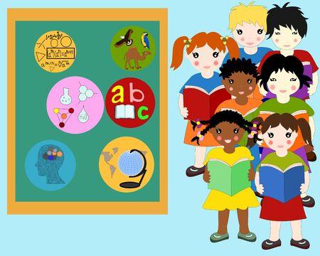 niños de diferentes razas: Los niños de diferentes razas con libros en las manos cerca de un consejo escolar, la escuela somete insignias