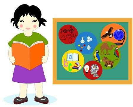 Asian girl with a book in his hands near a school board, school subjects badges