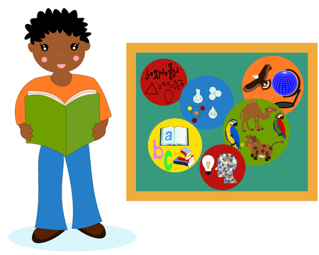 african boy: African boy with a book near the school boards, school subjects badges Stock Photo