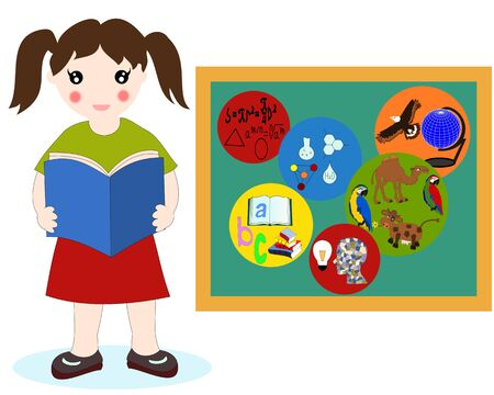The European girl with a book in his hands near a school board, school subjects badges
