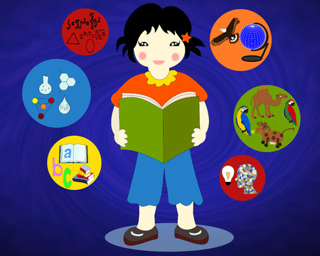 Asian girl with a book in his hands around the icons of school subjects Stock Photo