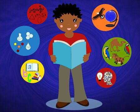 african boy: African boy with a book in his hands around the icons of school subjects Stock Photo