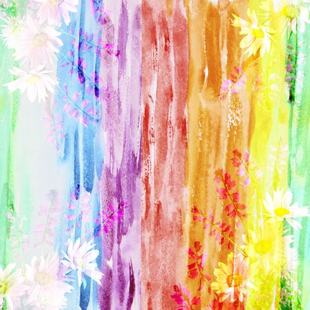 Picturesque watercolor floral background with a bouquet of daisies, made with color filters