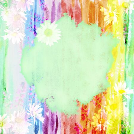 picturesque: Picturesque watercolor floral background with a bouquet of daisies and a place for text made with color filters