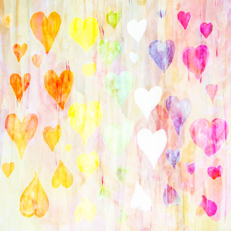 discrete: Abstract watercolor background with hearts made of colored filters