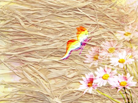 dry grass: The picturesque background in rustic style with dry grass, a bouquet of daisies and butterfly Stock Photo