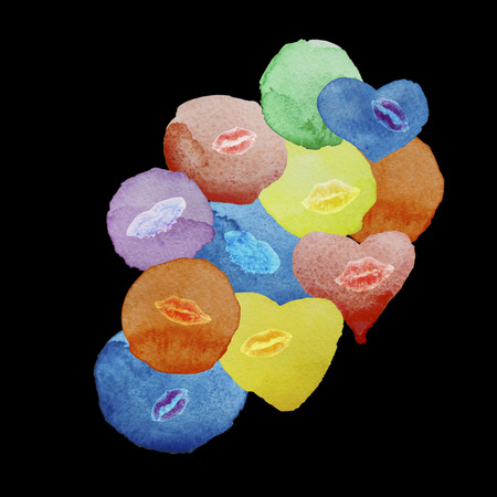 kissing lips: Colored hearts and spots watercolor kissing lips on a black background, an abstraction Stock Photo