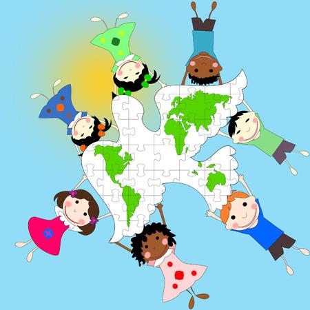 ni�os de diferentes razas: Los ni�os de diferentes razas con una paloma y un mapa del mundo, el concepto de la paz, la ilustraci�n