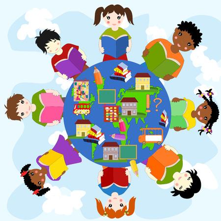 ni�os de diferentes razas: Los ni�os con libros de diferentes razas en un c�rculo, el concepto de la educaci�n
