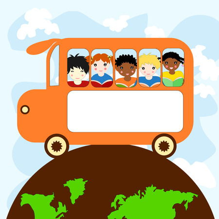 niños de diferentes razas: Los niños de diferentes razas en un autobús escolar que viajan en el planeta