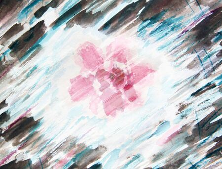 azalea: Watercolor painting with abstract flowers azaleas