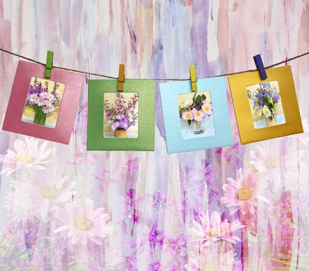 flowering field: Beautiful photos of bouquets of flowers within a clothes pegs on an abstract watercolor background