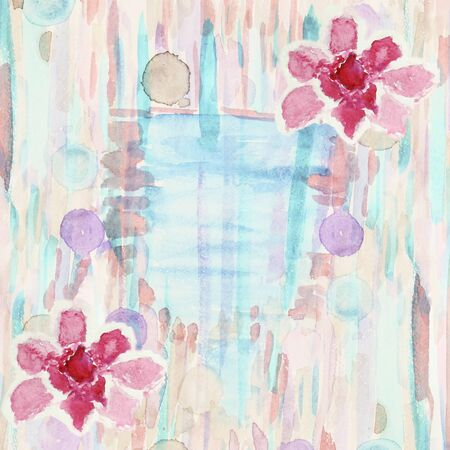 azalea: Abstract watercolor background with azalea flowers, stripes, strokes and circles, there is a place for text