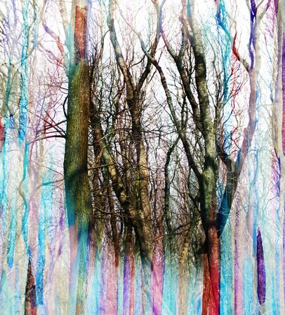fantastic: Abstract watercolor background with fantastic trees, double exposure effect Stock Photo