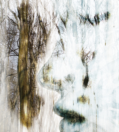 profile picture: Watercolor girls face in profile picture with trees, the effect of double exposure Stock Photo
