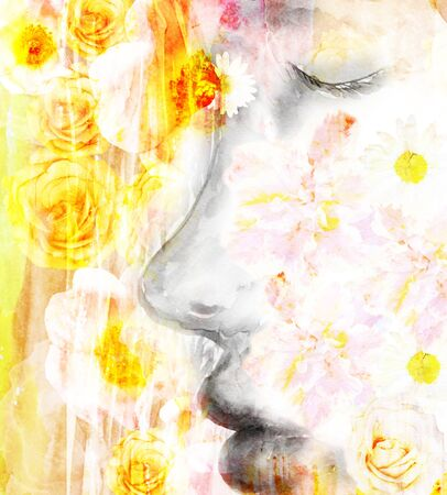 profile picture: Watercolor girls face in profile picture with flowers, the effect of double exposure