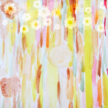 picturesque: Picturesque abstract flower pattern, watercolor composition Stock Photo
