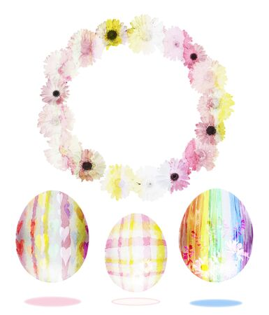 Watercolor set of easter eggs with a frame of flowers on a white background