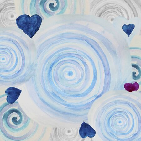 blue spiral: Watercolor abstract background with blue spiral swirls and hearts