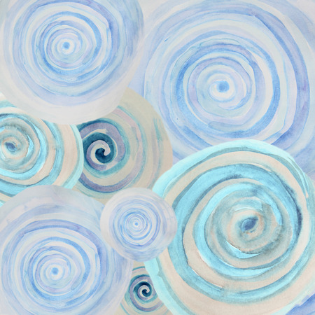 dabs: Watercolor abstract background with blue spiral swirls