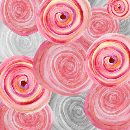 dab: Watercolor abstract background with pink and gray spiral whirlpools