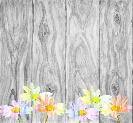 Beautiful daisy situated on a rustic wooden background with space for your message or text, watercolor composition