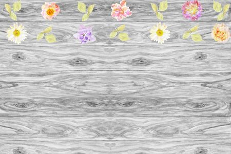 azalea: Flowers are arranged on a rustic wooden background with space for your message or text, watercolor composition