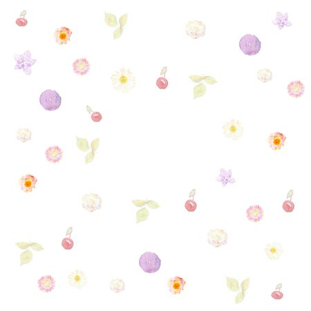 azalea: Colourful pattern of flowers, leaves and cherries painted in watercolor isolated on white background Stock Photo