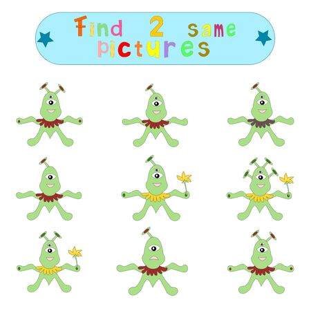 Childrens logical educational educational game Find 2 same image ofaliens